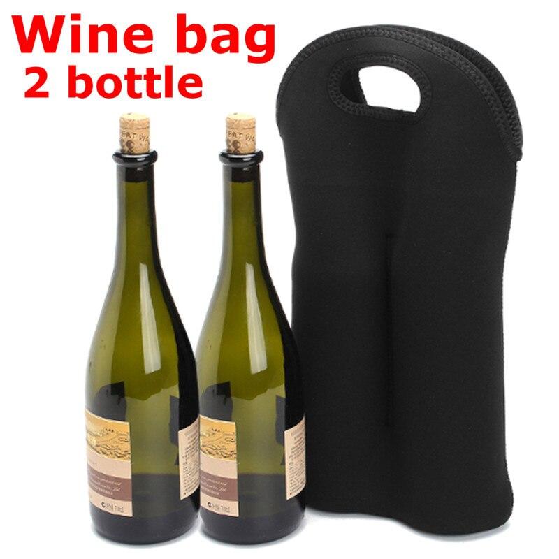 2 Bottles Wine Bag Covers Wine Bottle Holder Cooler Bag Black Wine Bottles Insulated Travel Carrier Carrying Tote Picnic Storage