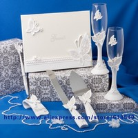 Free Shipping White Butterfly Wedding Collection Set Wedding Decoration Wedding Supplies Wedding Ceremony Event & Party Supplies