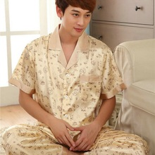 Chinese Style Sleepwear Male Silk Short Sleeve Length Pants Pyjamas Thin Silk Pajama Sets Spring & Autumn High Quality Silk S05