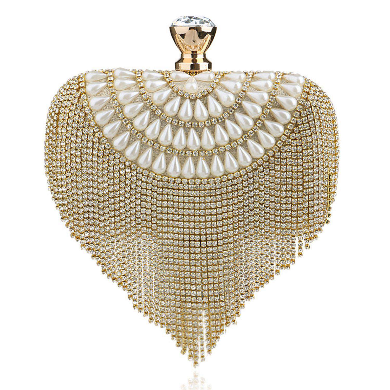 Bescheiden Hch-frauen Quaste Kupplung Perlen Diamanten Kleine Geldbörse Kette Schulter Handtaschen Hochzeit Lady Abend Tasche
