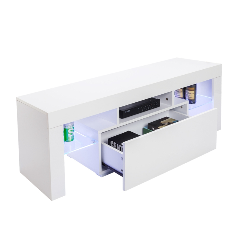 Front LED TV Stand Modern LED TV Cabinets with Drawer Living Room Furniture Dropshipping gloss high led tv stand modern led living room furniture tv cabinet