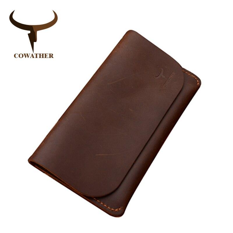 COWATHER 2017 haute qualité vache véritable Crazy horse en cuir hommes portefeuilles longue noir ou café mode homme bourse 104 livraison gratuite