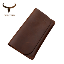 COWATHER 2017 high grade cow genuine Crazy horse leather men wallets long black or coffee fashion male purse 104 free shipping
