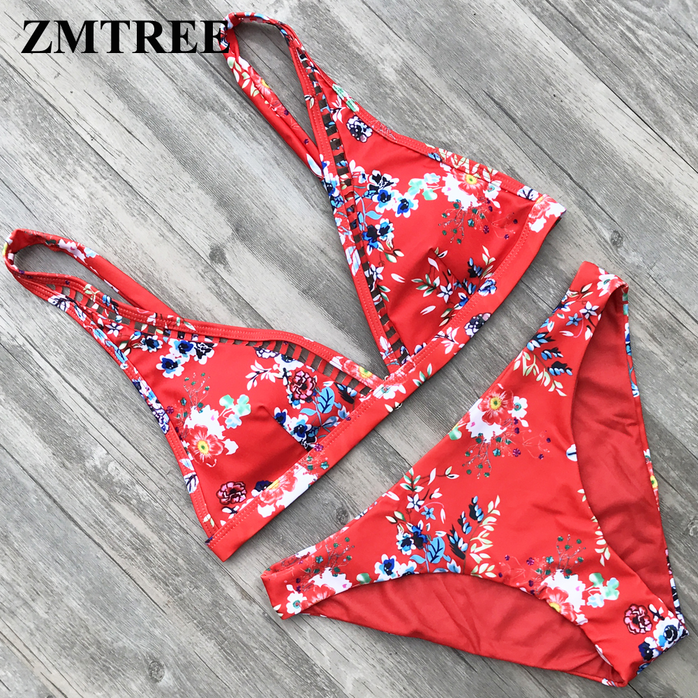 ZMTREE Retro Printed Bikini Set Floral Swimsuit Women Bathing Suit Hollow Out Swimwear Red Bikini Plus Size Biquini XL 2018