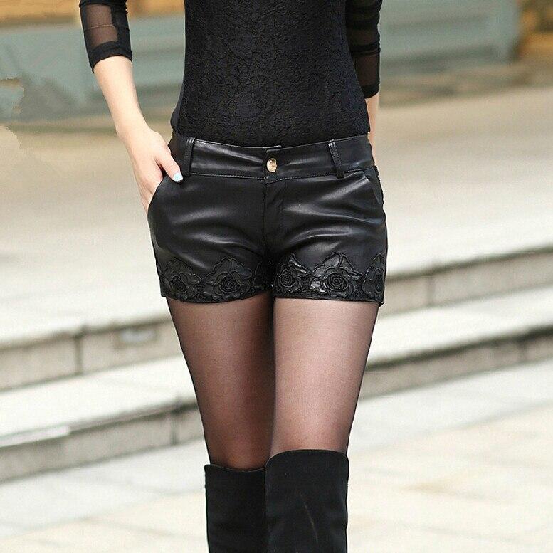 Woman Plus Size Spring Autumn Mid Zip Embroidery Slim Pu Short Lady Winter Oversized Lace Splice Waterproof Pu Shorts Skirts