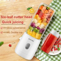 Mini Portable USB Rechargeable Juicer Blender with 6 Blades 400ml White Personal Blender for Traveling Spots Home Office and Out