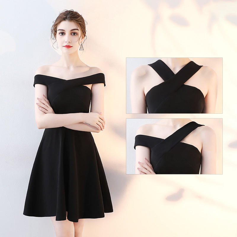 New Fashion Cocktail Dresses Simple Halter Sleeveless Party Formal Dress Elegant  Black Satin Knee Length A-line Prom Gowns E303