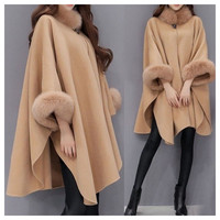 Winter 2019 Women Coats Woolen Cashmere Cape Coat Cloak Sleeve Loose Plus Size Camel Coat Long Coat Abrigos Mujer Invierno