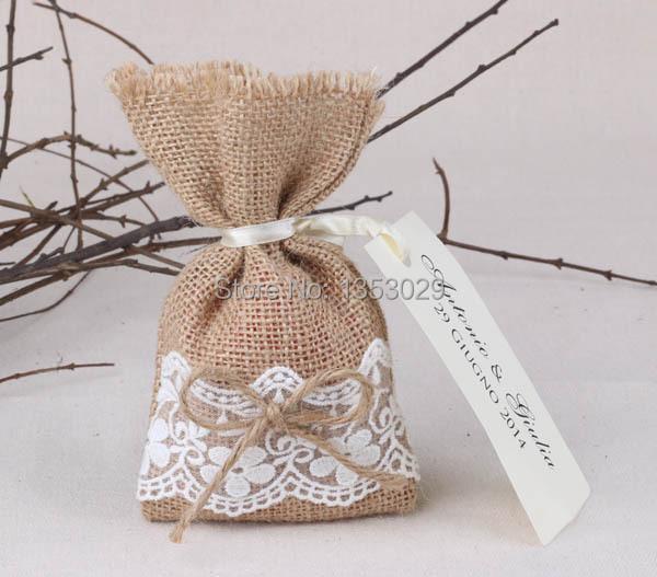 Bolsas arpilleras artculos similares a arpillera encaje - Saquitos de tela ...