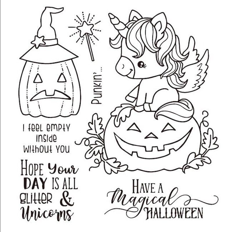 VYUTXA Magical Halloween Clear Stamps Scrapbook Paper