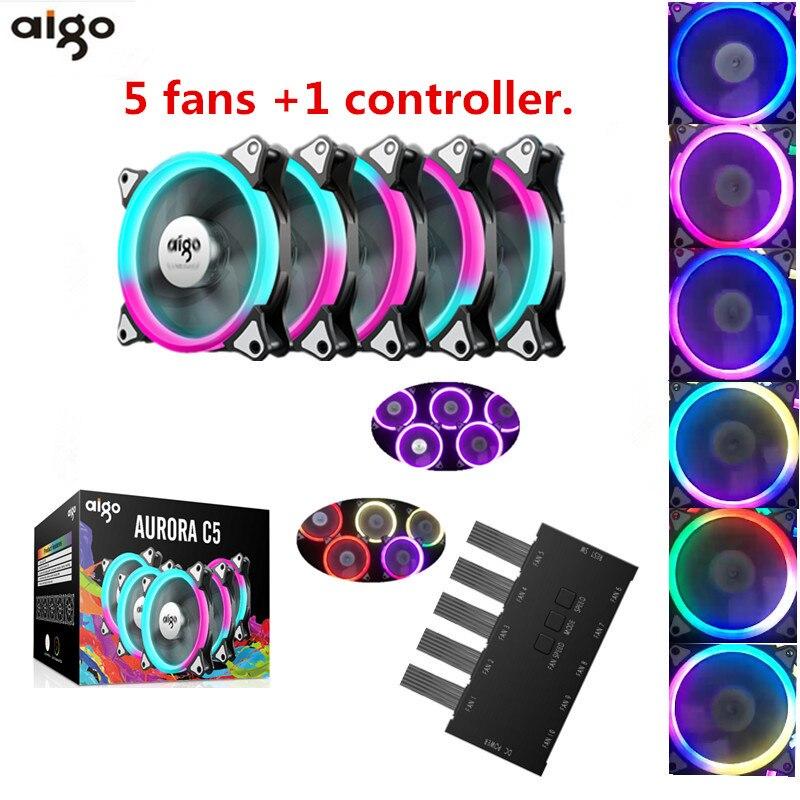 Aigo c5 fan PC Cooling Fan RGB fan 120mm LED Remote control cooling fan RGB article lamp