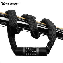 WEST BIKING Long Strong Chain Anti-theft Lock Steel Bicycle Lock Safety Password Code Cycling Accessories For Electric Bicycle цена
