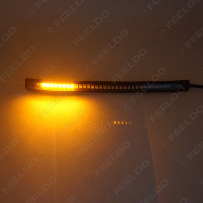 20Pcs Red and Amber Motorcycle Car 48LED LED Turn Signal Light Tail Brake Stop License Plate Lamp Rear Light #FD-2376