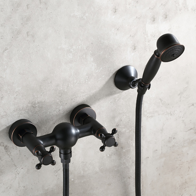 Shower Faucet Luxury Antique Oil Bronze Black Bathroom Brass Hot and Cold Water Bath Tub Mixer Shower Tap with Hand Spray Head
