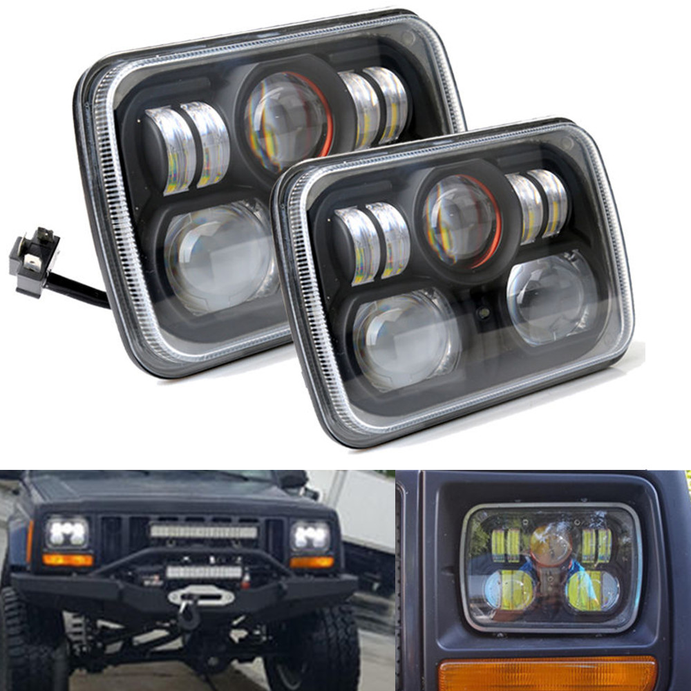 2 pcs Square Projector 7x6 5X7 inch LED Headlights H4 Light For Jeep Wrangler YJ Cherokee