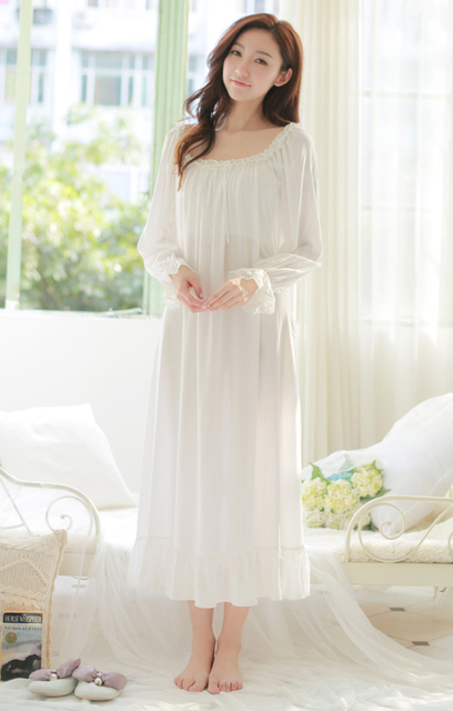d67d49b5d24 Free Shipping Princess Nightdress Long White and Pink Pijamas Women s  Nightgown Thin Material Sleepwear Ladies negligee