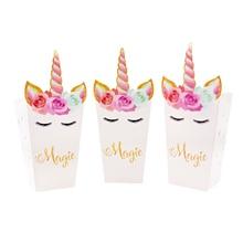 Paper Flower Popcorn-Box Unicorn Suppli Party-Decoration Kids Eyelash 12pcs Pink