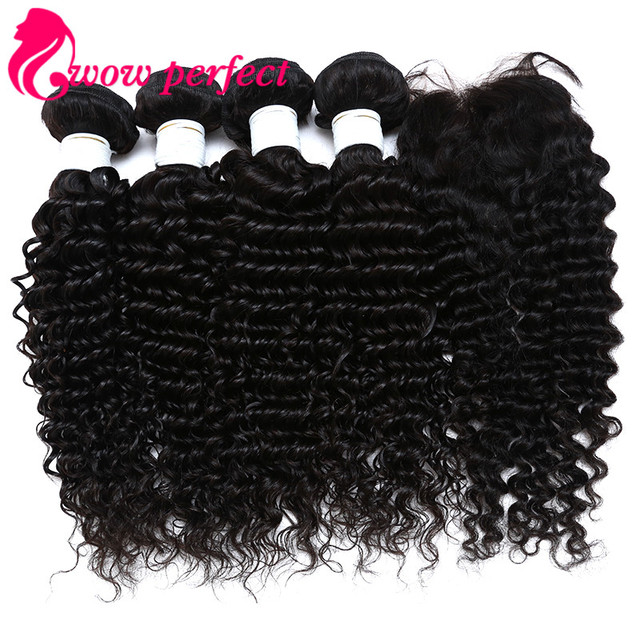 Brazilian Virgin Hair With Closure 7A Brazilian Deep Wave With Closure Human Hair 4 Bundles Deep Curly Virgin Hair With Closure