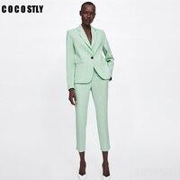 Office Lady Light Green Suit Women Two Piece Set Notched Collar Single Button Blazer Jackets Women Suit Pants Women Suits Set