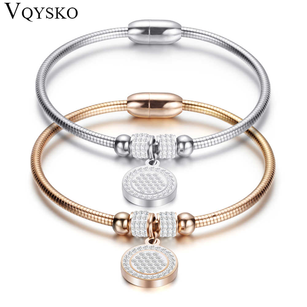 New High Crystal Quality Bracelet Bangles Coin Magnet Clasp With Snake Chain 316L Stainless Steel Wedding Bangles jewelry