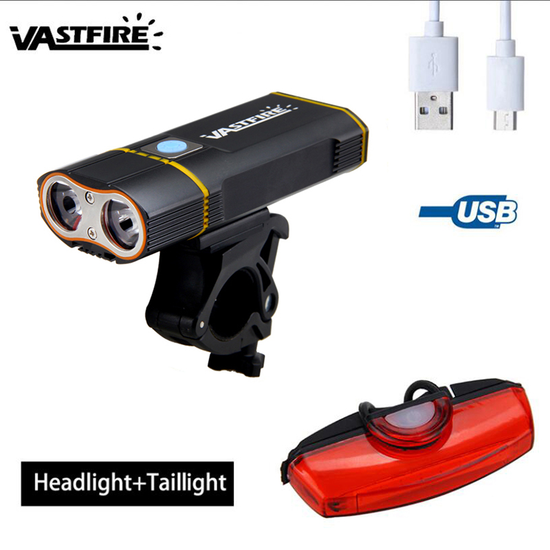 Front Bike Lamp 6000LM  2X XM-L2 LED Bicycle Headlight With Built-in 6000 MAh Battery +Mount +Safety Rear Light