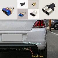 Para Peugeot 301 2018 2019 carro tampa do carro tubo de escape ponta silenciador extremidade do tubo exterior de volta dedicar tomada vent peças ornamento 1 pcs