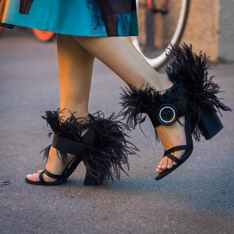 Woman T Stage Show Sandals Shoes Lady Fringe Square High Heels Sandals Feather decoration Cross Band Roman Peep Toe Sexy Shoes