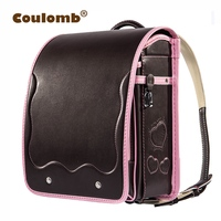 Coulomb Children Randoseru Orthopedic Backpack For Girl PU Leather School Bags For Kids LOVE Bags Student Princess Book Bags