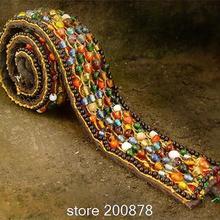HDC0630 Непальский ручной вышитый Бохо стеклянный бисерный пояс, Женский декоративный пояс, Новые цветные стеклянные бусины