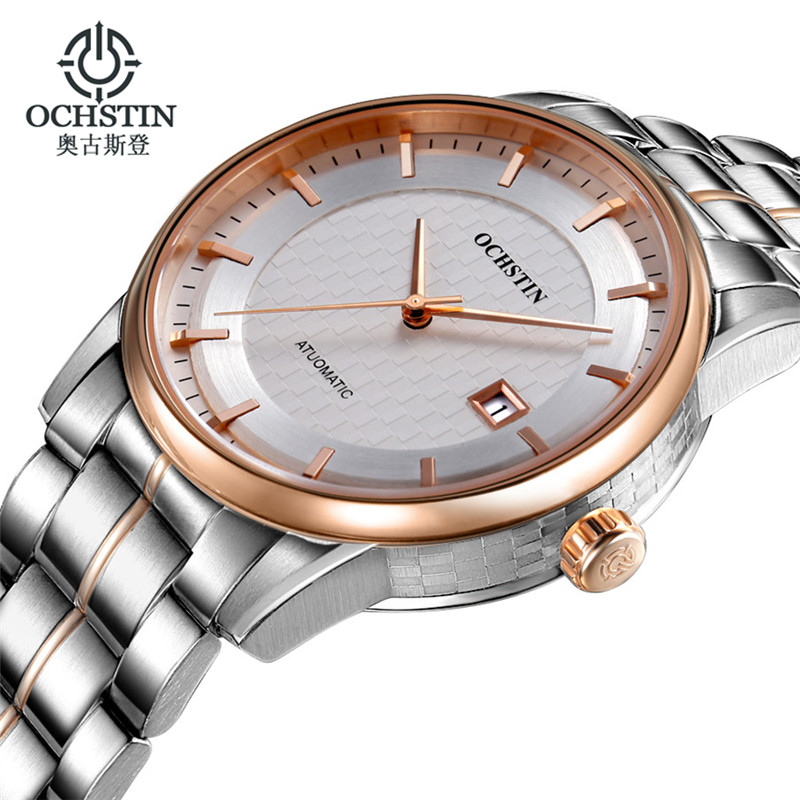 Reloj hombre Ochstin Men Watches Waterproof Mens Top Brand Luxury Full Steel Business Men's Automatic Mechanical Wrist Watch mens watches top brand luxury 2017 aviator white automatic mechanical date day leather wrist watch business reloj hombre
