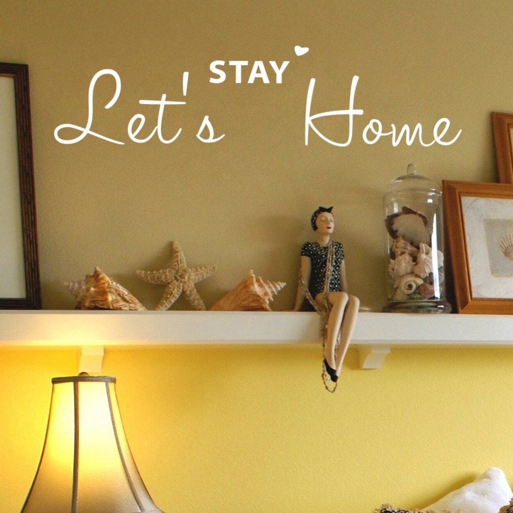 Lets Stay Home Family Quote DIY Art Wall Stickers Vinyl Decals for ...