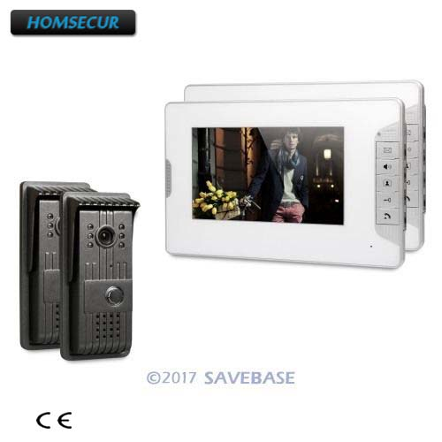 HOMSECUR 7 Color Video Door Entry Security Intercom with Real-time Outdoor Monitoring for Apartment 2V2