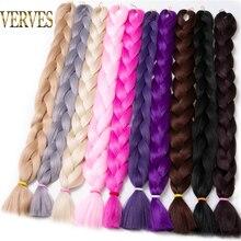 VERVES Synthetic Braiding Hair kanekalon 82 inch 165g/pcs Jumbo Braid Bulk African Hair Crochet Hair extensions,yaki texture