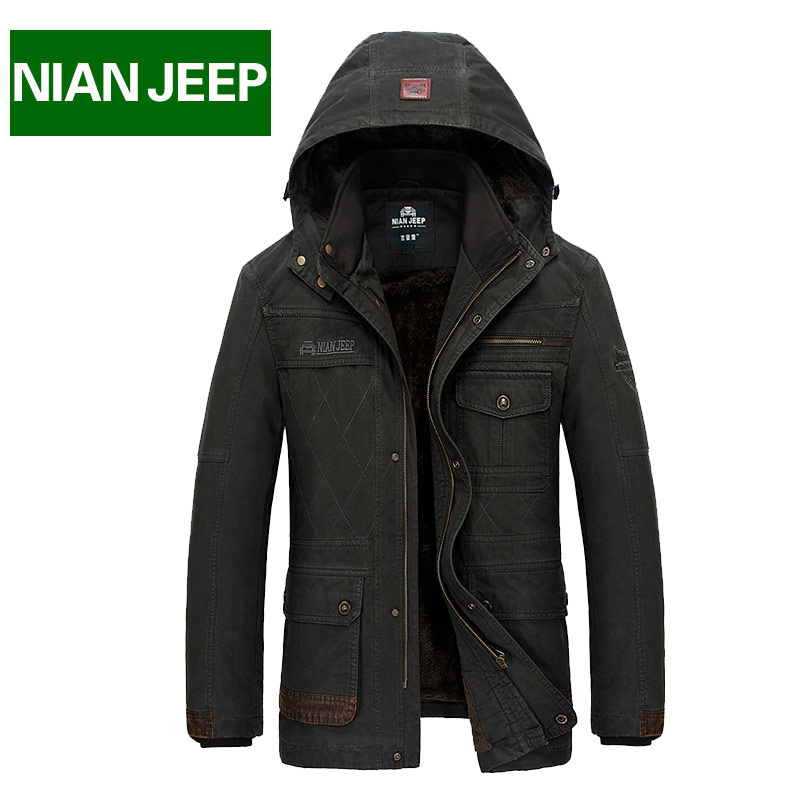 ФОТО Winter Jacket Men Warm Thick Parka Long Style Coats Plus size 4XL Brand NianJeep Cotton Soft Breathable Military Clothing