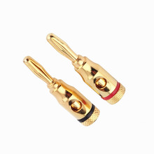 цена на 20pcs/lot Golden Plated Musical Audio Speaker Wire Cable Connector 4MM Banana Plug