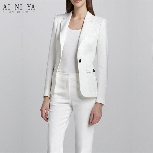 8a16a70ac Blanco mujer Oficina uniforme elegante Pantalones de traje 2 unidades  mujeres traje blazer mujeres negocios Trajes