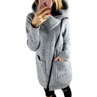 2016 Winter Coats Women Casual Zipper Hoodies Full Sleeve Cotton Pocket Long Slim Jacket Gray Sweatshirt