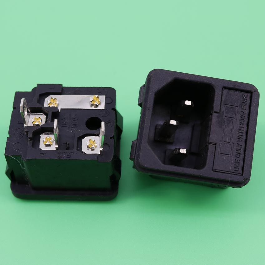 YuXi Bulkx10 IEC320 C14 Male AC Power Cord Inlet Socket Receptacle Connector AC 250V 10A With Fuse Holder Snap in yuxi new two way socket iec320 c14 inlet c13 outlet electrical socket industrial plug power rocker socket connector 10a 250v