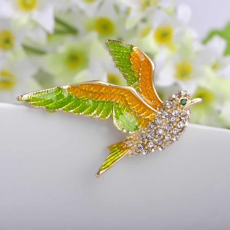 Burung kecil Pin Bros Bouquet Besar Enamel Bros Korsase Pin Syal Wanita Tas Aksesoris Bros Untuk Anak-anak
