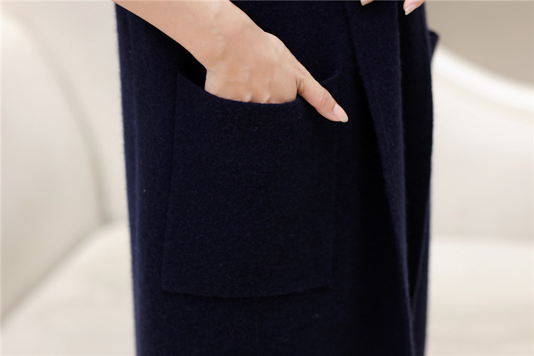 S 2xl Neutral 3 Chandail Cachemire ppl Foncé Red De Cardigan Pur Bleu Vison Grey Écharpe Mélange Femmes Tricot Col claret Couleurs Manteau Long Mode UZnTwqH