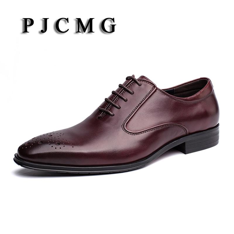Apontou Sapatos Casamento Oxford Vestido Pjcmg marrom Genuíno Lace up Handmade De Preto Respirável Moda Business Casual Toe Homens Couro wxOvxgq