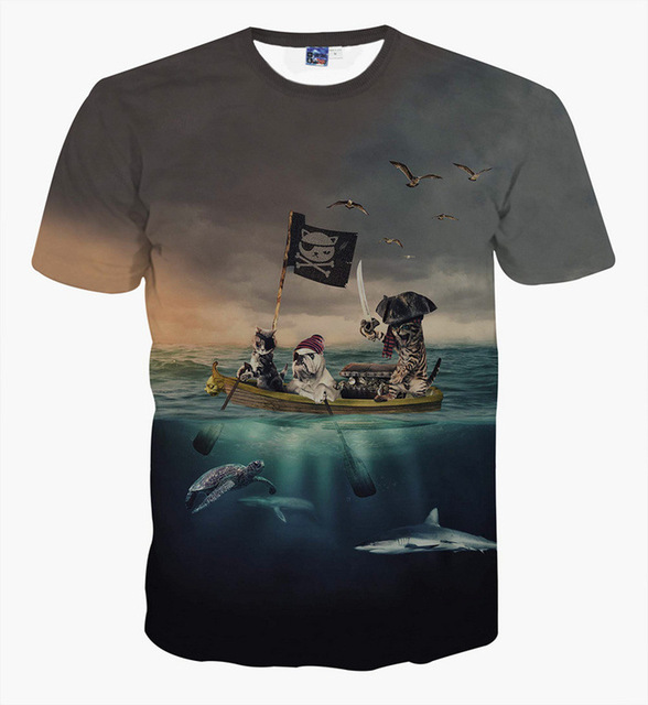 Cuhk child Pirate Cat 3D t-shirt for boys and girls New summer style teens t  shirt big kids 12-20 year tops 98f5767e213f