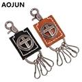 AOJUN Cross Genuine Leather Key Chain Holder Metal Round Punk Biker Car Key Ring Keychain For Women Men Vintage Accessories