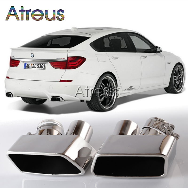 ФОТО 1set For BMW F07 535 Chrome 304 Stainless Steel Exhaust Muffler Pipe Tip For BMW GT 535 F07 Accessories