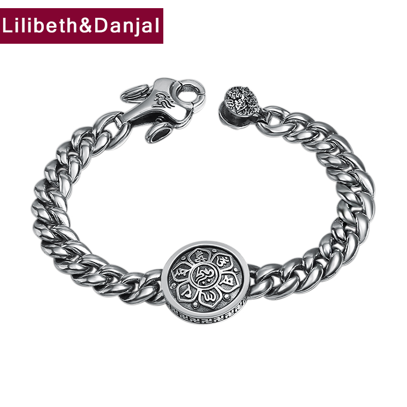 Men Buddha Charm Bracelet 925 Sterling Silver Buddhist Heart Sutra Rotatable Bangle Bracelet Gift Jewelry FB22