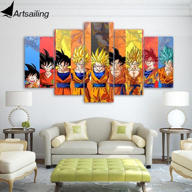 5 piece Canvas Art Dragon Ball Z Poster Goku Wall Art