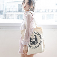 Women's Canvas Shoulder Bag Pure Cotton Shakespeare Pattern Female Canvas Shopping Bag Ladies' Zipper Tote Girls' Eco Handbag Shoulder Bags