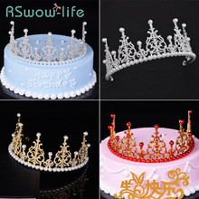 Birthday Cake Baking Decoration Crown Jewelry Rhinestone Pearl Hat For