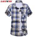 LONMMY М-7XL Клетчатую рубашку мужчины С Коротким рукавом Slim fit Повседневная camisa социальной masculina мужские рубашки Моды 2017 Летние мужские рубашки