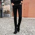 Mens Adelgazan Vaqueros Rectos Casuales Pantalones de Algodón Elástico Mediados de Cintura Skinny Jeans Lápiz Negro para Los Hombres 801-1 tamaño 27-36